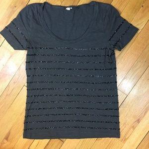 Dark Gray & Sequin Tee Shirt